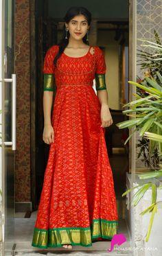 Pochampally - Red with green Kurta Designs, Kurti Designs Party Wear, Blouse Designs, Lehenga Designs, Long Dress Design, Dress Neck Designs, Long Gown Dress, Long Gowns, Long Frock