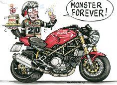 Womens Motorcycle Helmets, Motorcycle Posters, Motorcycle Art, Bike Art, Motorcycle Girls, Ducati Monster 695, Ducati Monster Custom, Moto Ducati, Ducati Cafe Racer