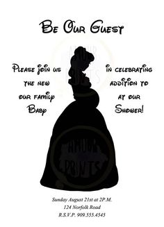 Here is a set of Baby Shower Invitations with Belle from Beauty and the Beast with a Baby Bump, and all the Information for the Special Event! This is perfect for any Pregnant Disney fanatic! Be sure to let us know which style for the invitations you prefer. We print these on quality