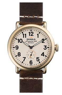 Shinola 'The Runwell' Leather Strap Watch, 41mm | Nordstrom