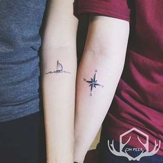 Cute Ship and Compass Tattoos for Couples: