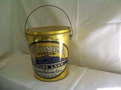 Wyoming Brand Pure Lard Vintage Tin Bucket Casper by TheTravelingOwlShop, $37.00