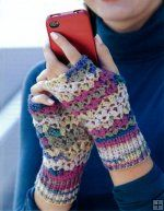 http://www.maggiescrochet.com/texting-mitts-p-2435.html#.UO4Qgm_Ad8E    These fingerless gloves keep your hands toasty while you stay in touch. These eight designs by Andee Graves are really soft and comfy to wear because they're crocheted with super fine weight sock yarn. The patterns range from Beginner to Intermediate skill levels. So even if you've only crocheted a little, you'll still find the perfect pattern.