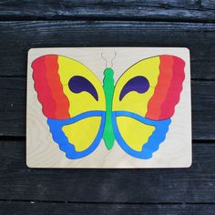 Butterfly Wooden Puzzle - makes a great gift, and can be hung on the wall without the pieces falling out