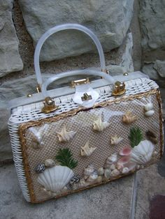 Unique Sea Shells Wicker Handbag C 1970