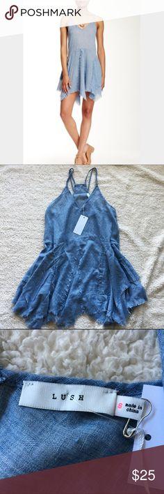 NWT: Lush Handkerchief Hem Chambray Dress, sz S NWT: Lush woven handkerchief hem lightweight chambray dress with a v-neck, spaghetti straps, and racer-back. Size: S Lush Dresses Mini