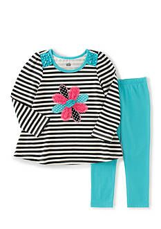 Kids Headquarters Stripe Flower Tunic and Leggings Set Toddler Girls