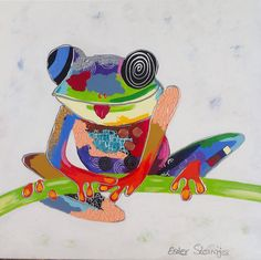 Kikker, acryl op doek, 60x60 cm