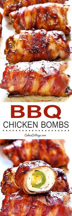 Get your tastebuds ready for Bacon BBQ Chicken Bombs! It's chicken, cheese, bbq sauce, bacon and jalapeno. and yes, it's as good as you are dreaming it is! Bbq Chicken Bombs, Barbecue Chicken, Chicken Bbq Sauce, Crockpot Bbq Chicken, Chicken Poppers, Dinner Crockpot, Grilling Recipes, Cooking Recipes, Smoker Recipes