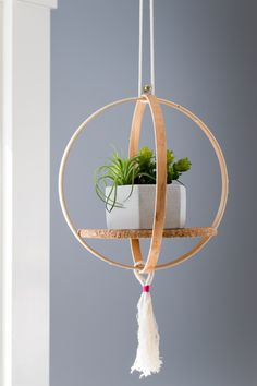 11 Clever Ways To Use An Embroidery Hoop Create This Hanging Plant Shelf Using A Single Embroidery Hoop. A Hoop Pairs Best With A Small Plant And The Cork Board Serves As A Stabilizing Shelf. Diy Hanging Planter, Diy Hanging Shelves, Plant Shelves, Planter Ideas, Diys, Embroidery Hoop Crafts, Embroidery Jewelry, Garden Embroidery, Diy Décoration