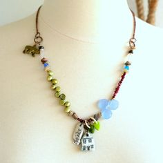 Beaded Statement Necklace Polymer Clay Jewelry Peace by ThreeTrees
