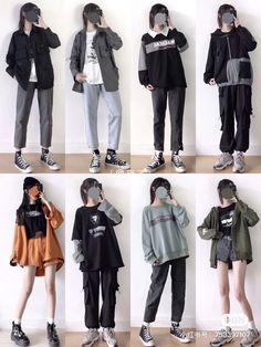 Korean Fashion Styles, Korean Outfit Street Styles, Korean Girl Fashion, Ulzzang Fashion, Korean Street Fashion, Kpop Fashion Outfits, Tomboy Fashion, Edgy Outfits, Korean Outfits