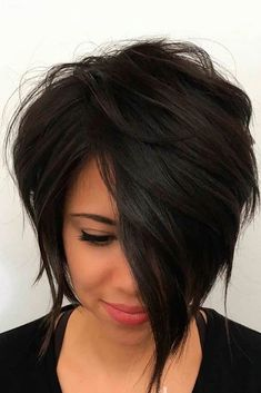 45 Edgy Bob Haircuts To Inspire Your Next Cut. Edgy bob haircuts are best for those of you who are dreaming of some change in your lives but have no clue Edgy Bob Haircuts, Short Layered Haircuts, Wavy Bob Hairstyles, Short Hair Cuts, Short Asymmetrical Haircut, Hair Cuts Edgy, Layered Inverted Bob, Short Hair Long Bangs, Choppy Bob With Bangs
