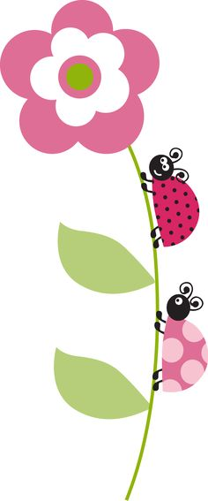 Ladybugs on a flower. Applique Patterns, Embroidery Applique, Machine Embroidery, Embroidery Designs, Diy And Crafts, Crafts For Kids, Paper Crafts, Clip Art, Cute Clipart