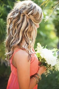 Curly hairstyle with a waterfall braid #wavyhairstyles