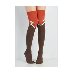 Statement Fur the Win Thigh Highs ($20) ❤ liked on Polyvore featuring intimates, hosiery, socks, foundation, orange, above the knee socks, fur socks, over knee socks, over-the-knee socks and fox socks