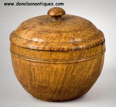 Lidded ash burl sugar bowl, ca. 1780-1800 with beautiful striated figure.