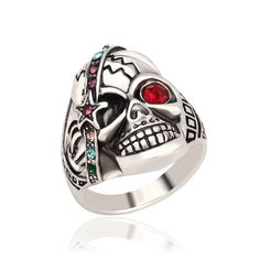 Personality Punk Skull Rings for Women 2017 New Arrival Hip Hop Rhinestone Rings High Quality AE1637