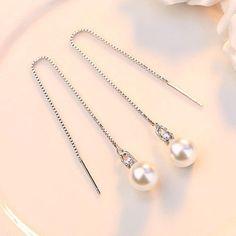Simulated Pearl Charm Long Chain Drop Earrings Ear Jewelry, Gold Jewelry, Tassel Earrings, Drop Earrings, Hanging Jewelry, Shape Patterns, Fashion Earrings, Charmed, Pearls