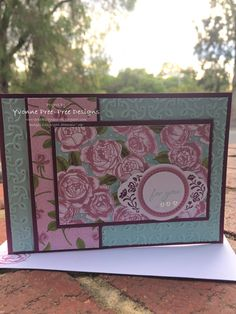 Petal Garden DSP Stack is the feature on this card.  The gorgeous Garden Trellis embossing folder, I used with Pool Party as the background.  All from the 2017-18 Stampin' Up! catalogue.