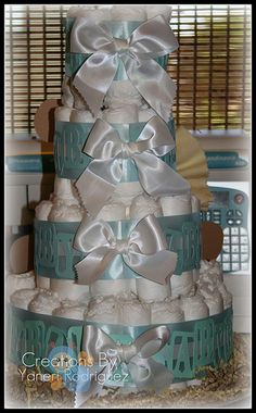 http://cakedecoratingcoursesonline.com/cake-decorating/ Baby Diaper Cake. Do you want your #personal #Baby #Shower #cake? - Learn Amazing #Cakes #Design Creating on http://CakeDecoratingCoursesOnline.com and Make Your Dream Baby Shower Cake Yourself