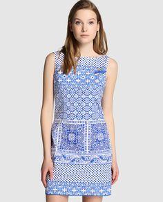Vestido corto de mujer Rosalita McGee con estampado en azul