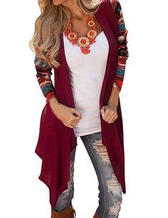 Shinekoo® Women Fall Irregular Cardigan Coat Stripe Knit Shawl Outwear: Amazon.co.uk: Clothing