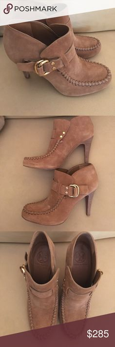 """Tory Burch Leather Suede Tan Booties Tory Burch Leather Suede Tan Booties.  Adorable booties with a gold buckle for this season.  Like new condition.  Heel measures approx: 4"""". Tory Burch Shoes Ankle Boots & Booties"""