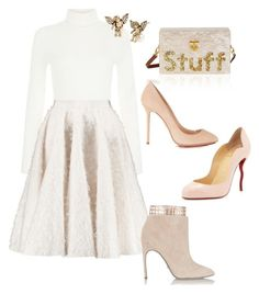 """Fashionably....Nude!!!"" by la-harrell-styling-co on Polyvore featuring Giambattista Valli, Sergio Rossi, Christian Louboutin, Edie Parker, Charlotte Olympia and Betsey Johnson"