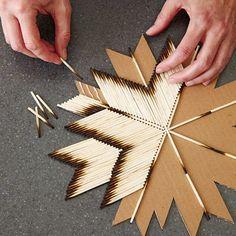 41 Creative DIY Hacks To Improve Your Home - Stern aus Streichhölzern basteln. - 41 Creative DIY Hacks To Improve Your Home - Stern aus Streichhölzern basteln.