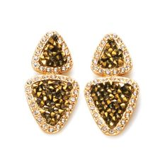Goldtone double triangle drop earrings with drusy like goldtone accents with rhinestone embellishment. Regularly $19.99, buy Avon Jewelry online at http://eseagren.avonrepresentative.com