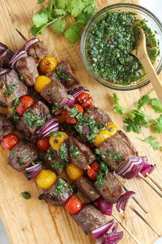 Grilled Steak Kebabs with Chimichurri