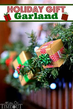 This Holiday Gift Garland is a surefire way to instantly add a festive flair to your holiday decorations! | MomOnTimeout.com #ad #craf...
