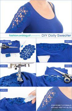 32 Super ideas for diy clothes ideas refashion lace Shirt Makeover, Shirt Refashion, T Shirt Diy, Diy Clothing, Sewing Clothes, Diy Fashion, Ideias Fashion, Diy Kleidung, Diy Mode
