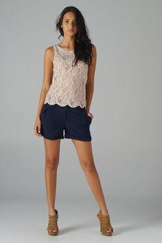 Embellished Lace Sleeveless Top