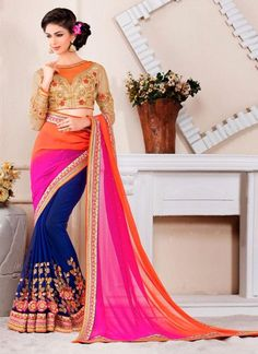 Chic Hot Pink and Navy Blue Embroidered Work Faux Chiffon Designer Saree