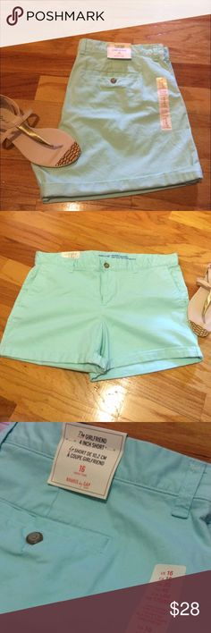 "Perfect Shorts for Spring/Summer Super cute NWT, light turquoise/sea foam green color shorts, NWT from The Gap. They are a size 16 and are 97% cotton/3% spandex. They are called ""The Girlfriend"" 4 inch shorts. They are a light turquoise/sea foam green color..the last pic shows more of the true color It's a cool looking color and perfect for Spring/Summer time. Please ask any and all questions before purchasing. Happy Poshing💕💕 GAP Shorts"