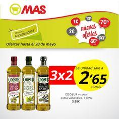 Hasta el 28 de mayo, una gran #oferta de aceite de oliva extra COOSUR: 3X2!! La unidad sale a 2,65€, ideal para hacer ensaladas o aliños fresquitos!