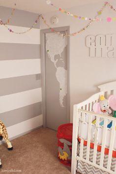 Gender neutral nursery - closet door painted w/decal