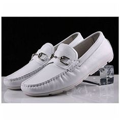 Santimon-Men's Comfortable Genuine Leather Driving Shoe Horsebit Moccasins Loafer Doug Shoes-White-42