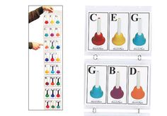 CARD HOLDER FOR COLOR CODED HANDBELL CARDS - The director's job just got easier! Hold it, hang it or clip it to a music stand. Select chords needed for the song, and slip the cards into the slots. Teacher (or student conductor) points to the row of cards to cue the chordal changes. (Teacher can see the chord names on the backs of cards, too). Card holder only, cards sold separately.
