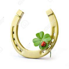 Lucky Symbols: Horseshoe, Four Leaf Clover and Ladybug Royalty-Free Stock…