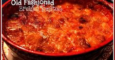 Sweet Tea and Cornbread: Mama's Old Fashioned Breaded Tomatoes! You may use Biscuits instead of sandwich bread. Stewed Tomatoes Recipe With Bread, Breaded Tomatoes Recipe, Stewed Tomato Recipes, Tomato Side Dishes, Vegetable Side Dishes, Southern Dishes, Southern Recipes, Southern Food, Southern Comfort