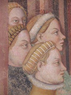 """PALAZZO TRINCI (Foligno, PG) Gentile da Fabriano e collaboratori, 1411-1412 c.   La Loggia con le """"Storie di Romolo e Remo""""; episodio """"Le vestali nel tempio"""" (dett.)"""