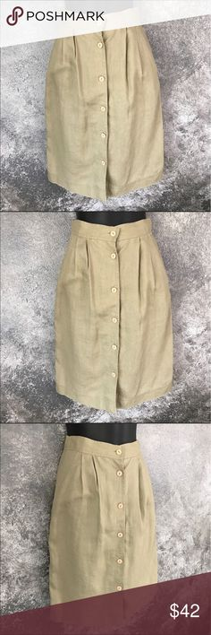 "Vintage Neumann Marcus pleated tan skirt 25"" waist Neiman Marcus apparenza brand khaki tan button down skirt. Waist measures approximately 25."" Length is approximately 23.5."" Sz 6, but runs small. 100% linen. GUC. Smoke free home. Bundle with other items for more discounts. Neiman Marcus Skirts A-Line or Full"