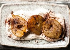 "Roasted Pears with Espresso Mascarpone Cream.This recipe nods to the weather but is light enough in texture and flavor to just ""top off"" that great meal! www.creativeelegancecatering.com www.creativeelegancecatering.blogspot.com"