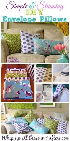 Simple Stunning DIY Envelope Pillow Tutorial - make your own new pillow covers in minutes with this tutorial at The Happy Housie