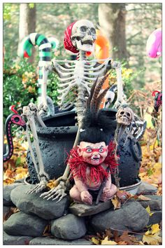 zombie troll baby redone into a witch doctor...who keeps boiling up his nannies...what a fantastic idea, plus many other zombie baby ideas, by Halloween Forum member Hilda.