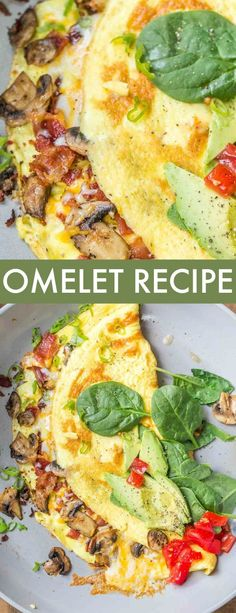 Omelet Recipe Easiest Recipe for Bacon Mushroom Omelet loaded with Cheese. Beaten egg filled with sauteed mushrooms, bacon and cheese. This omelet becomes so fluffy and airy and a great way to start the day packed with protein. Healthy Omlet Recipes, Easy Salad Recipes, Bacon Recipes, Brunch Recipes, Breakfast Recipes, Vegetarian Recipes, Cooking Recipes, Healthy Breakfast Omelet, Asian Recipes