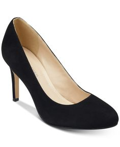 Marc Fisher Chris Round-Toe Pumps - Black Suede